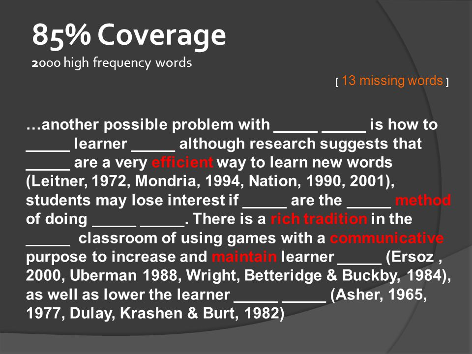 85% Coverage 2000 high frequency words