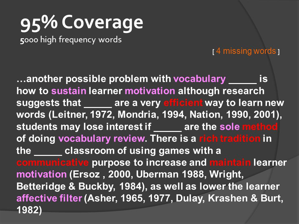 95% Coverage 5000 high frequency words