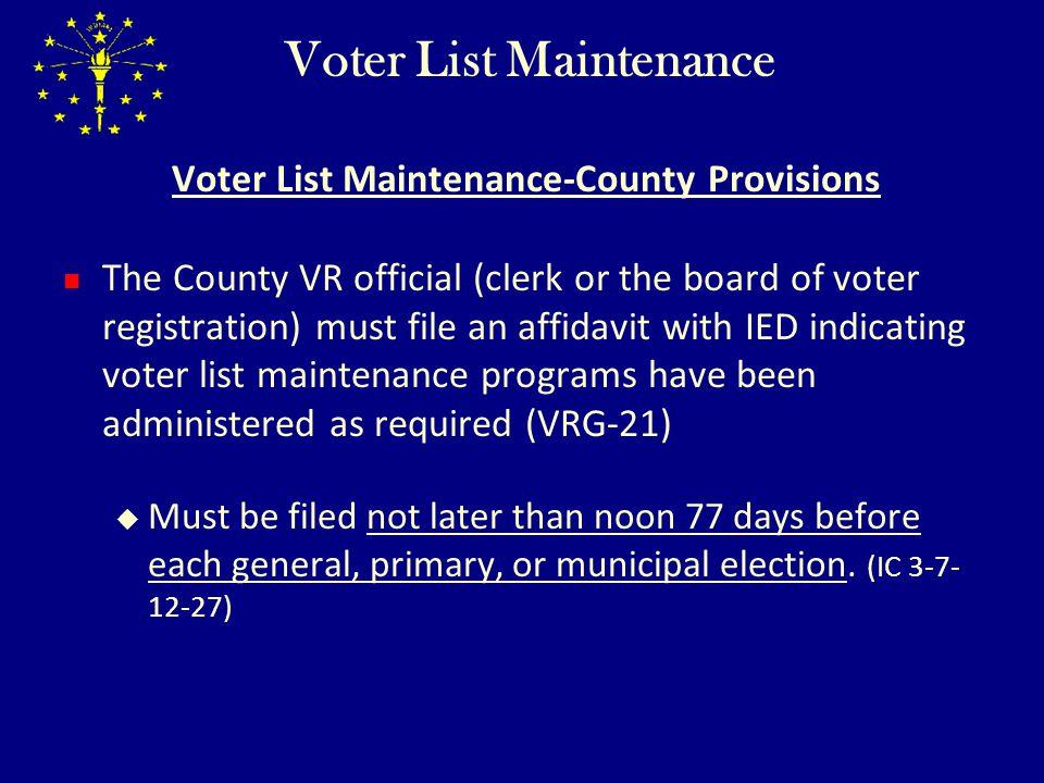 Voter List Maintenance