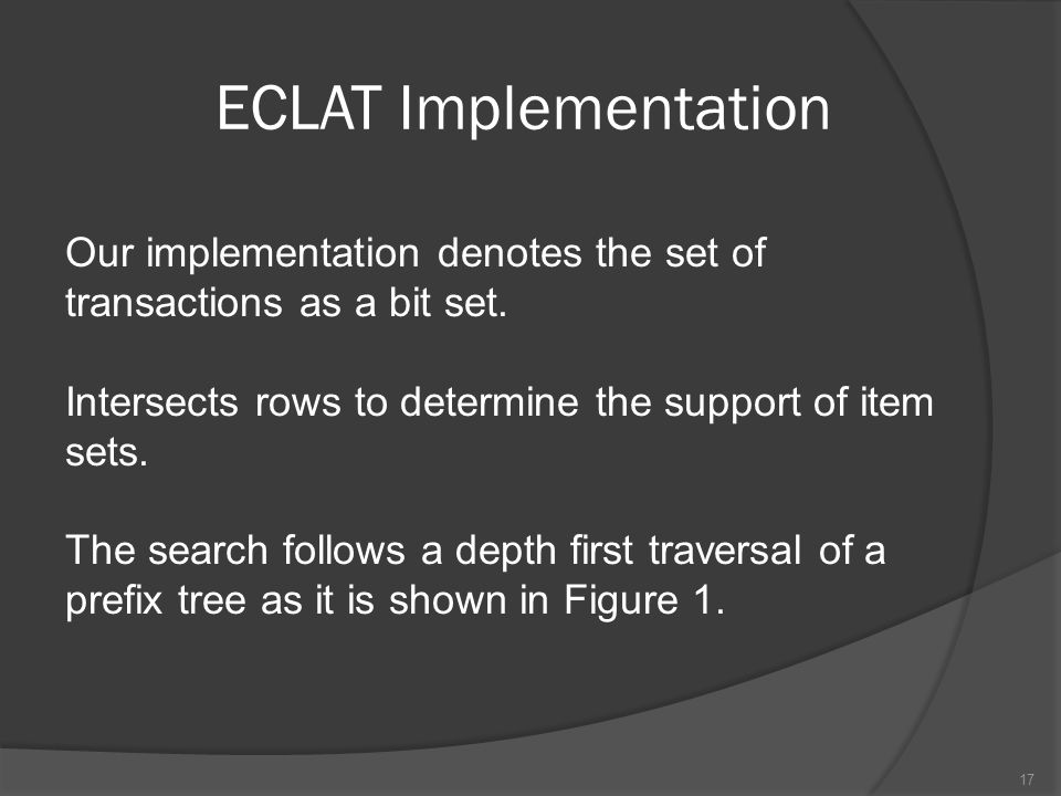 ECLAT Implementation Our implementation denotes the set of transactions as a bit set. Intersects rows to determine the support of item sets.