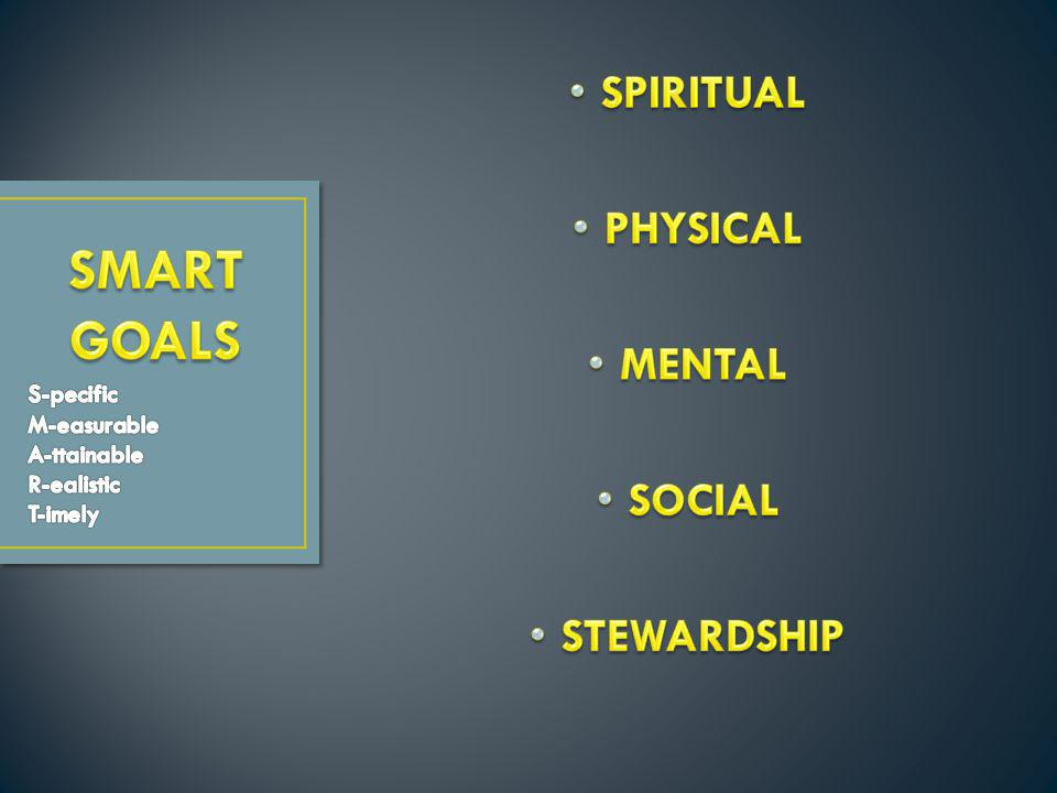SMART GOALS SPIRITUAL PHYSICAL MENTAL SOCIAL STEWARDSHIP S-pecific