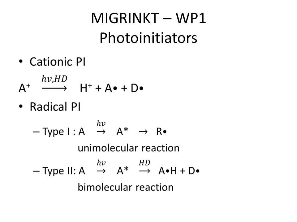 MIGRINKT – WP1 Photoinitiators