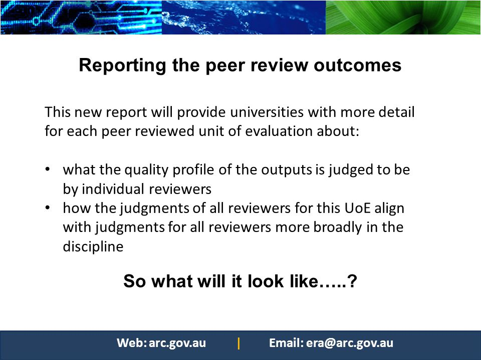 Reporting the peer review outcomes