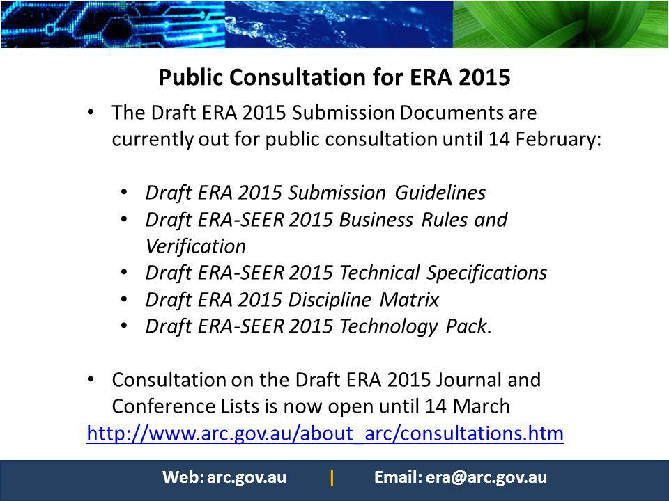 Public Consultation for ERA 2015