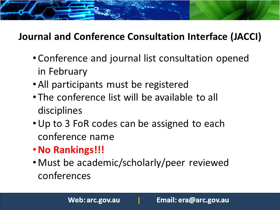Journal and Conference Consultation Interface (JACCI)