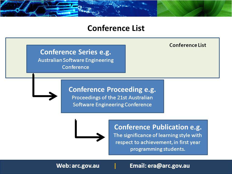 Conference Proceeding e.g. Conference Publication e.g.