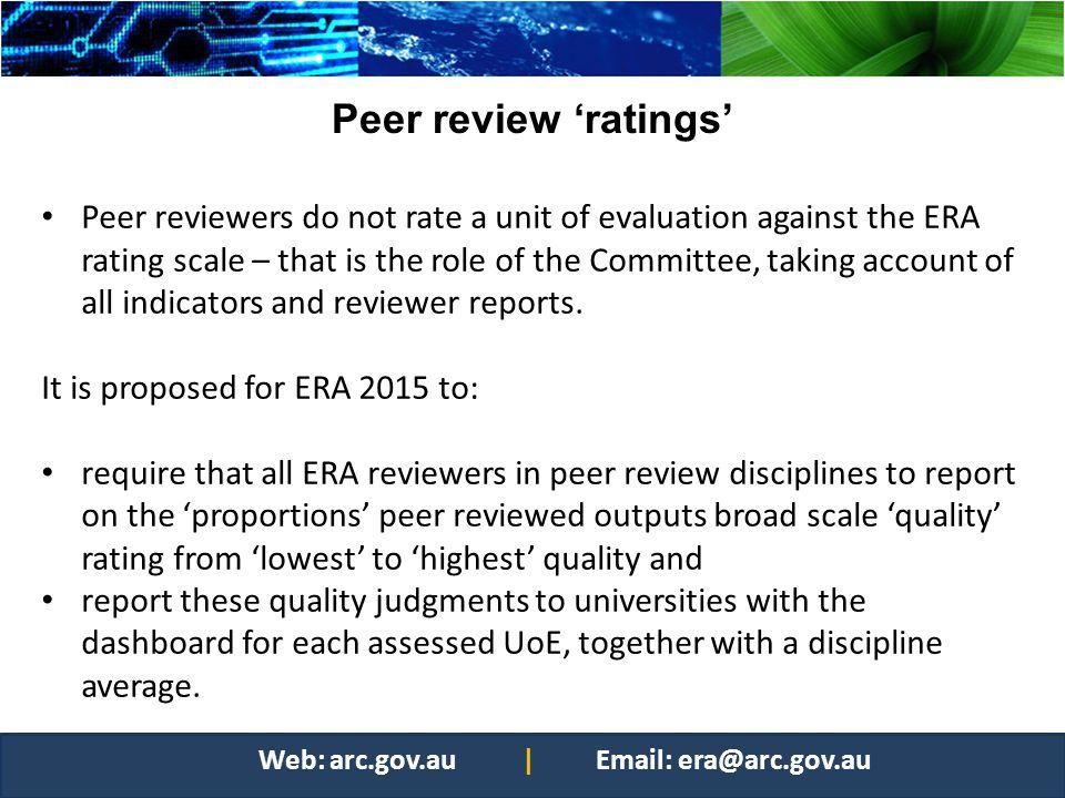 Peer review 'ratings'