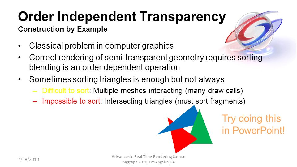 Order Independent Transparency Construction by Example