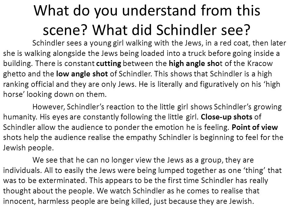 What do you understand from this scene What did Schindler see