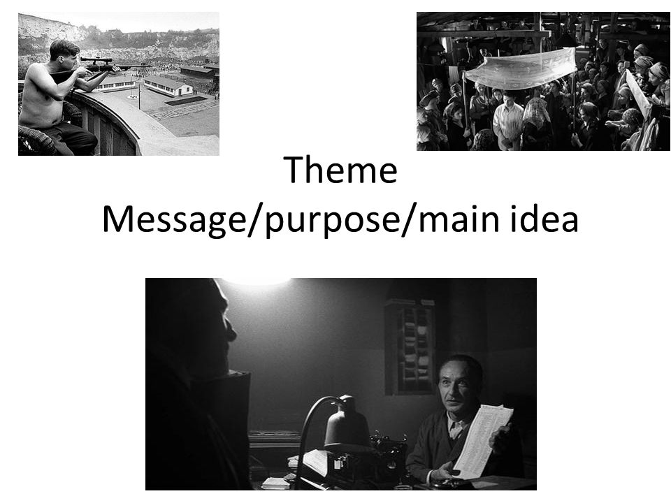 Theme Message/purpose/main idea