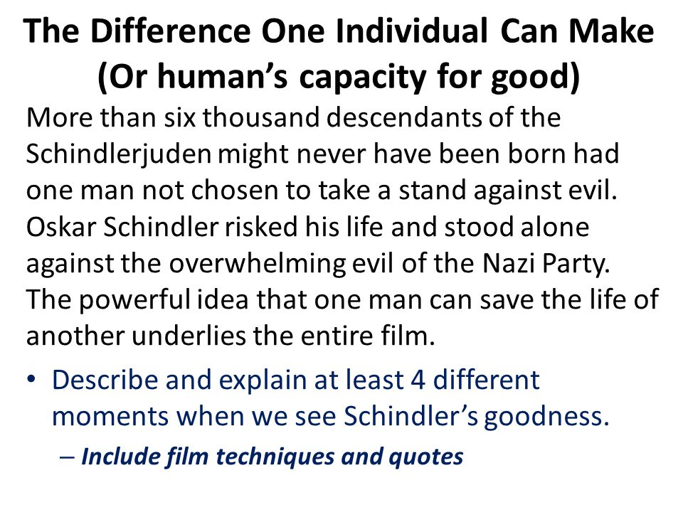 The Difference One Individual Can Make (Or human's capacity for good)