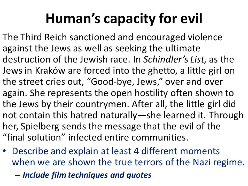 Human's capacity for evil