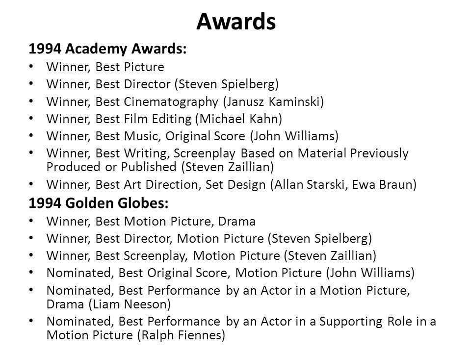 Awards 1994 Academy Awards: 1994 Golden Globes: Winner, Best Picture