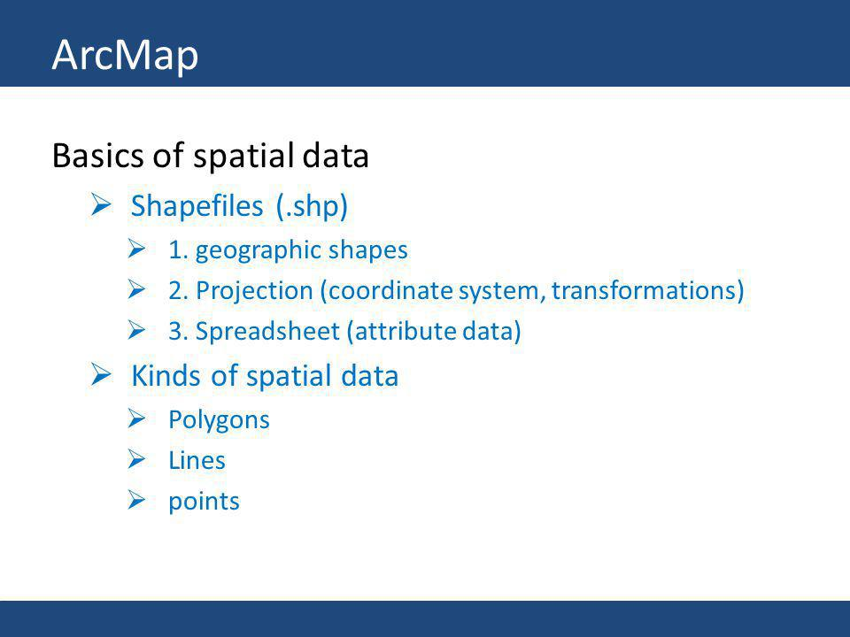 ArcMap Basics of spatial data Shapefiles (.shp) Kinds of spatial data