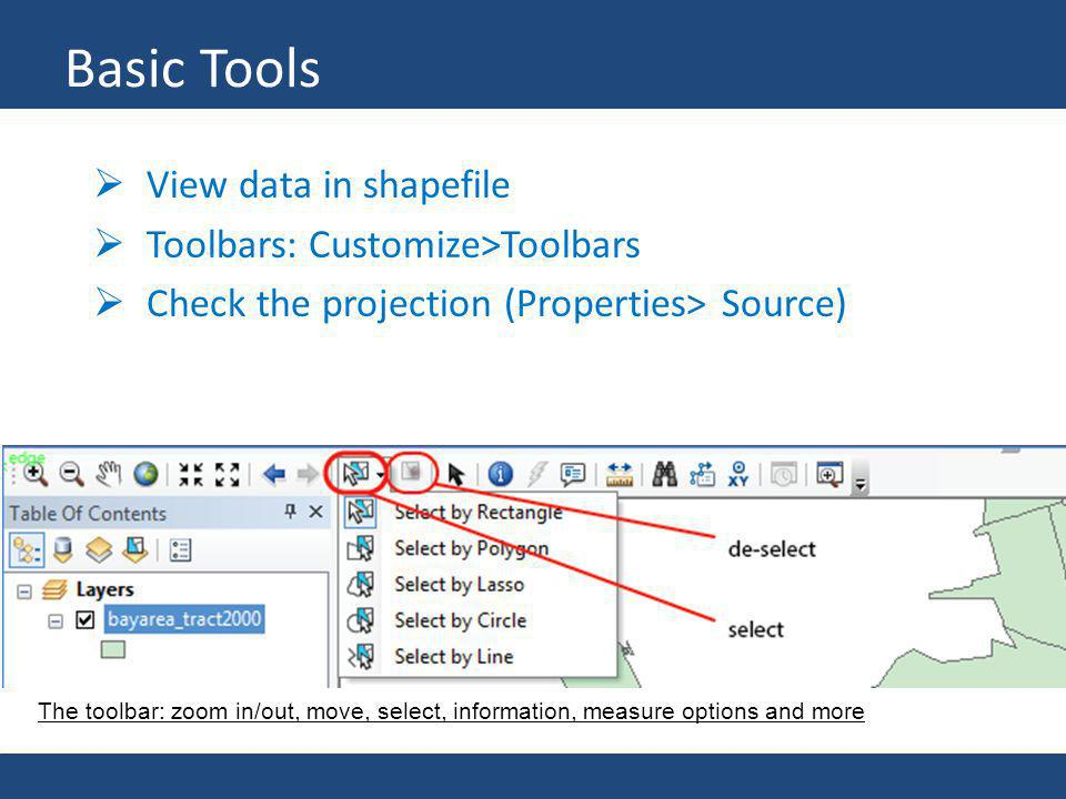Basic Tools View data in shapefile Toolbars: Customize>Toolbars