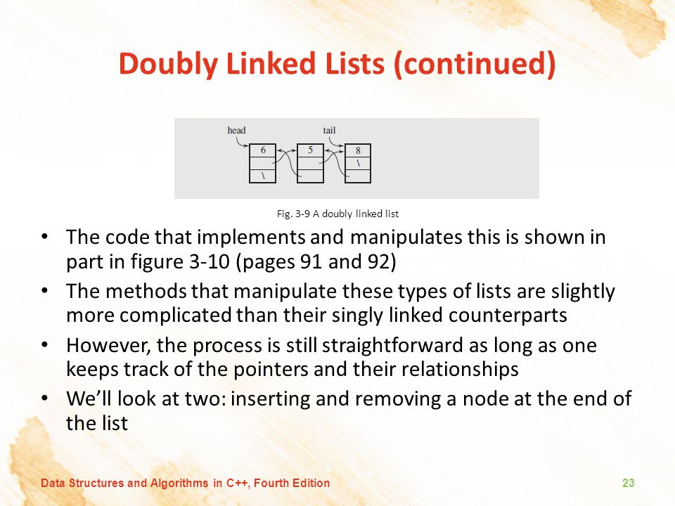 Doubly Linked Lists (continued)