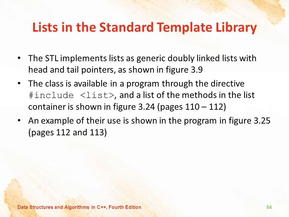 Lists in the Standard Template Library