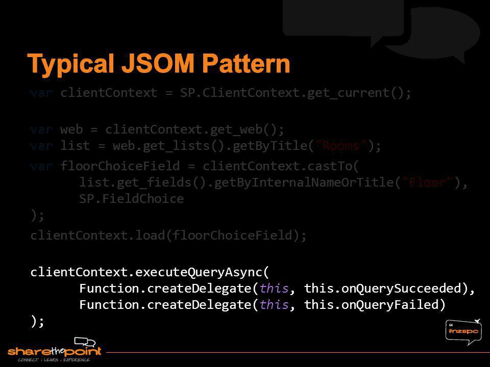 Typical JSOM Pattern var clientContext = SP.ClientContext.get_current();