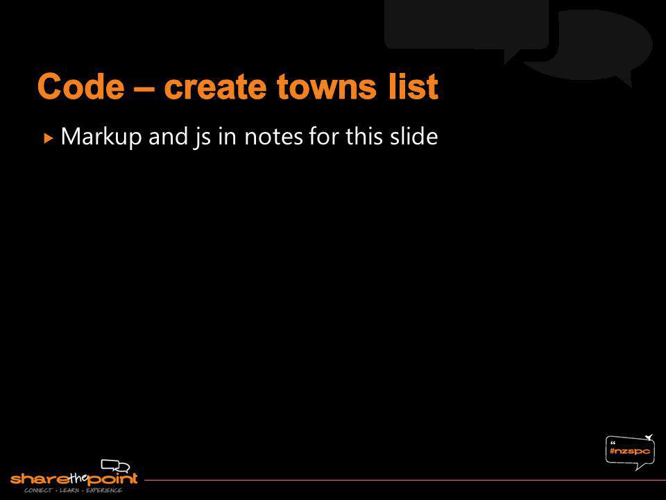 Code – create towns list