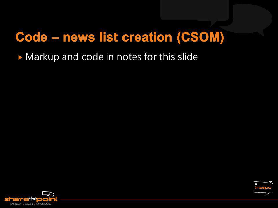 Code – news list creation (CSOM)