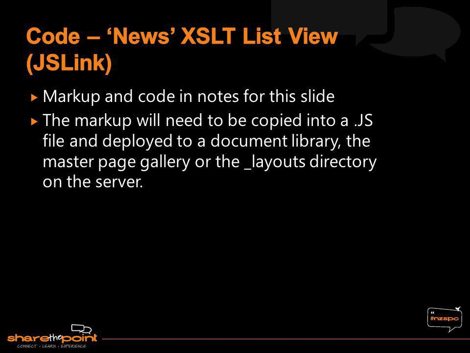 Code – 'News' XSLT List View (JSLink)