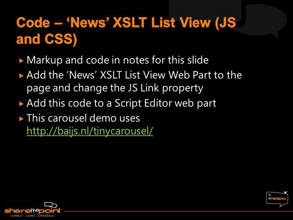 Code – 'News' XSLT List View (JS and CSS)