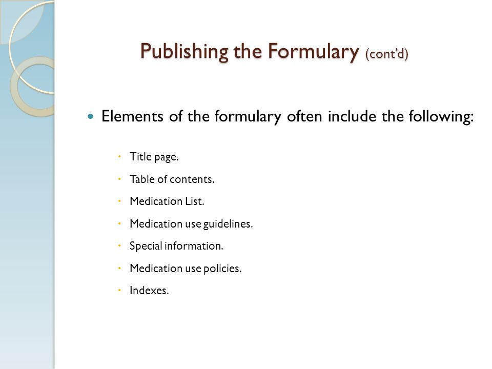 Publishing the Formulary (cont'd)