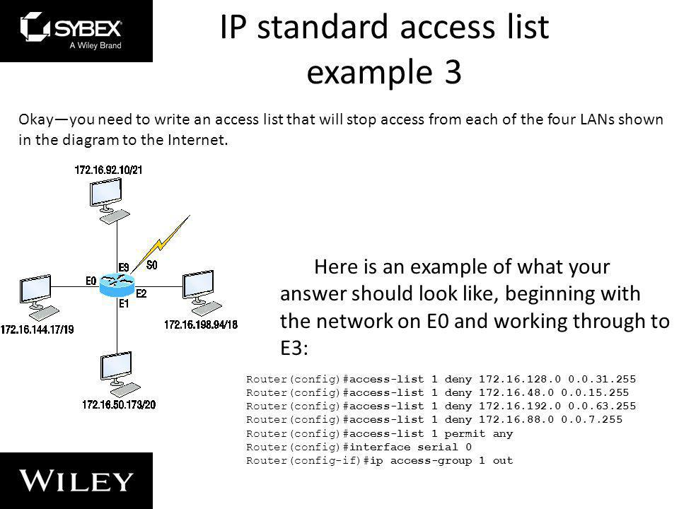 IP standard access list example 3