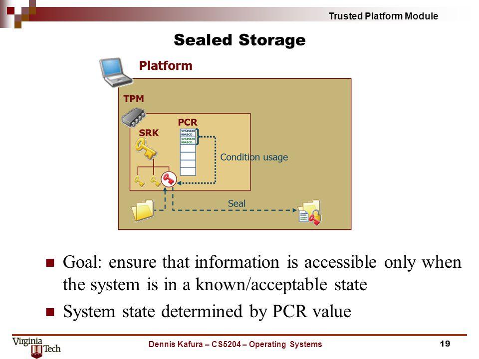 Dennis Kafura – CS5204 – Operating Systems