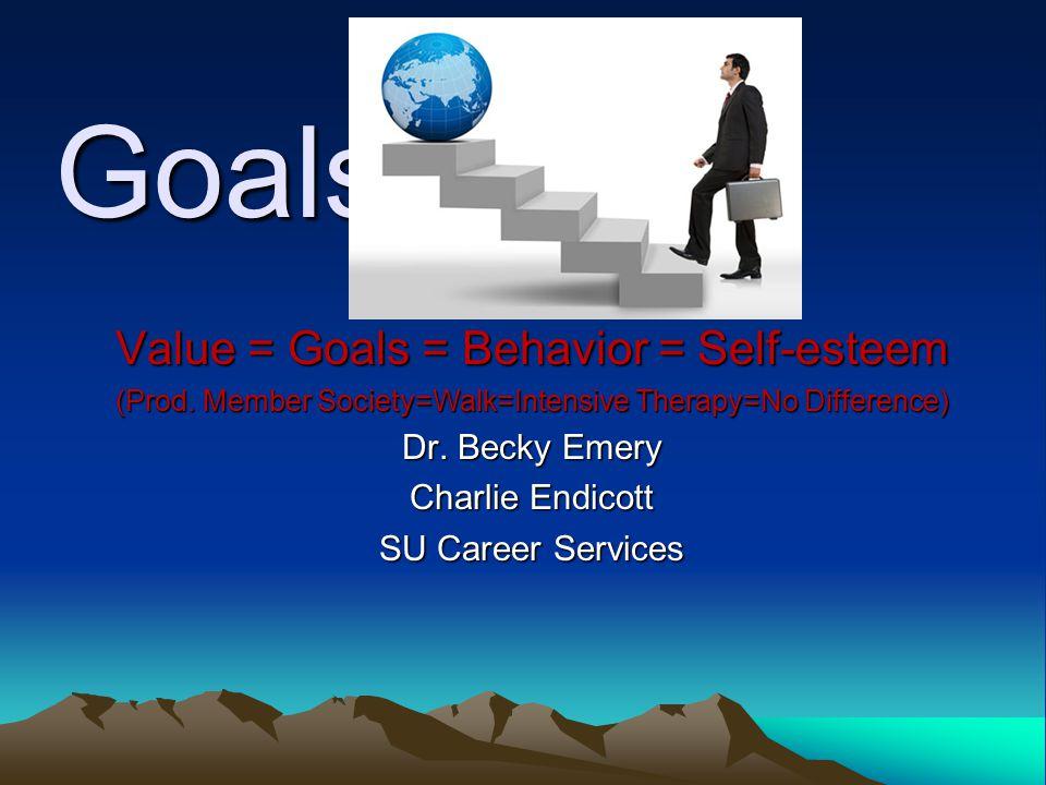 Goals Value = Goals = Behavior = Self-esteem Dr. Becky Emery