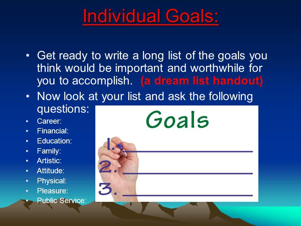 Individual Goals: