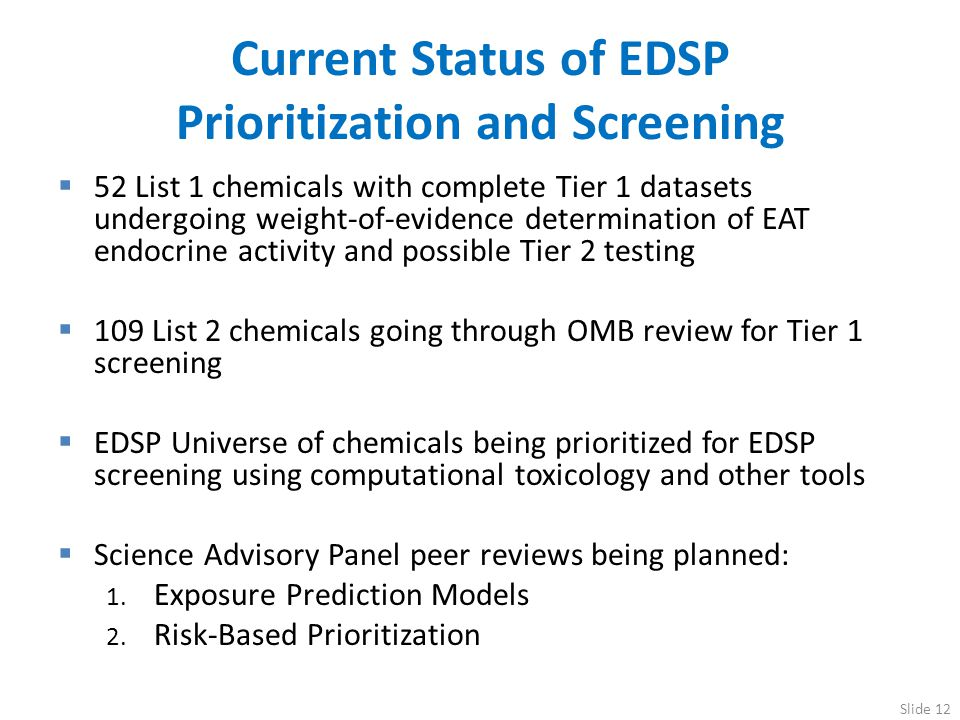 Current Status of EDSP Prioritization and Screening