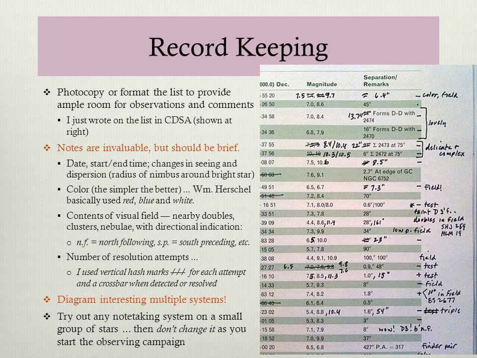 Record Keeping Photocopy or format the list to provide ample room for observations and comments. I just wrote on the list in CDSA (shown at right)