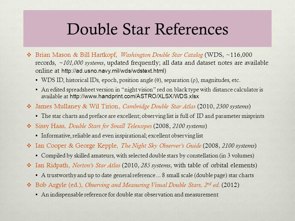 Double Star References