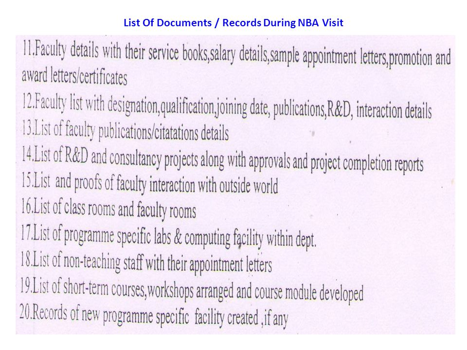List Of Documents / Records During NBA Visit