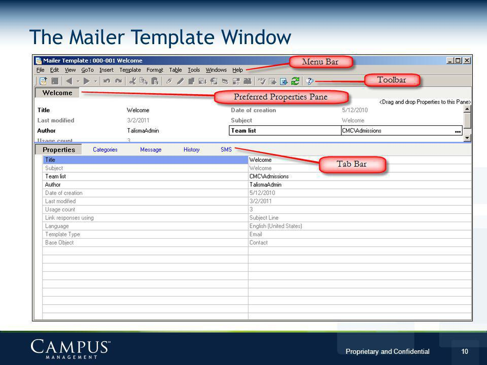 The Mailer Template Window