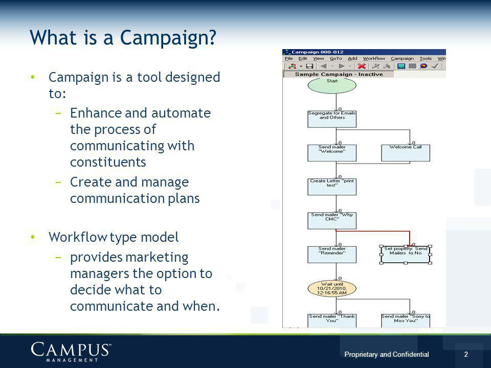 What is a Campaign Campaign is a tool designed to: