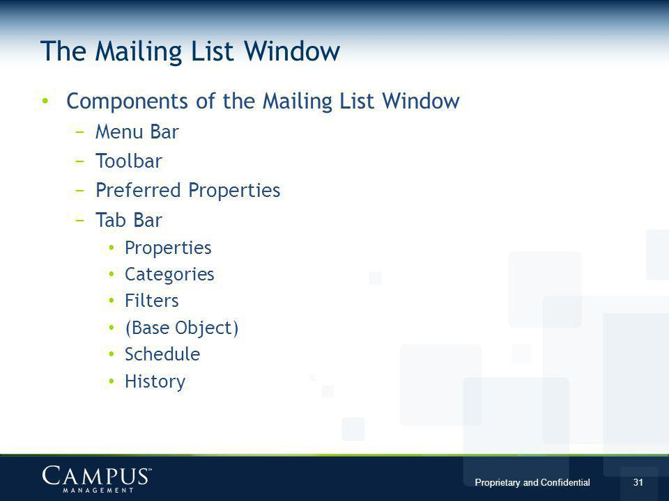 The Mailing List Window