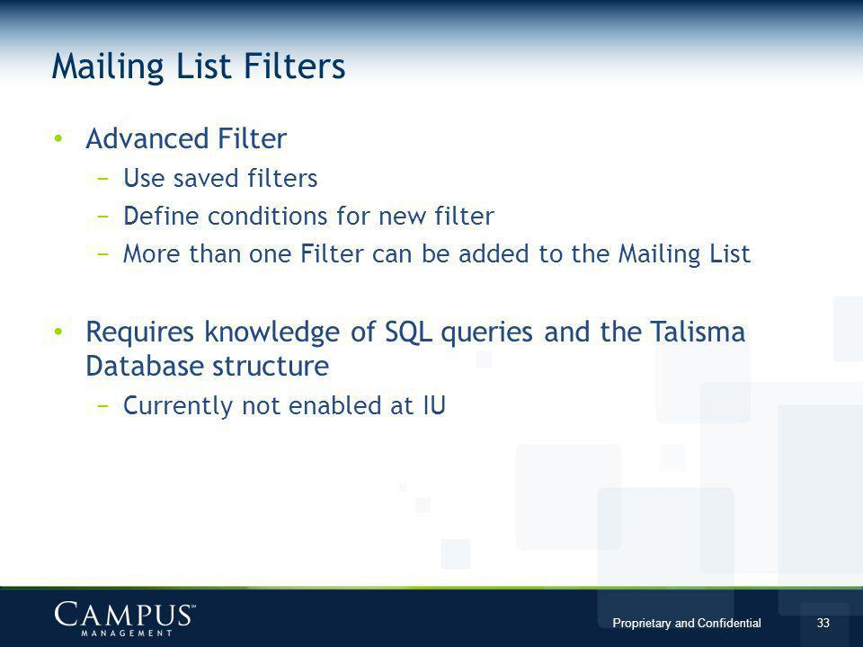 Mailing List Filters Advanced Filter
