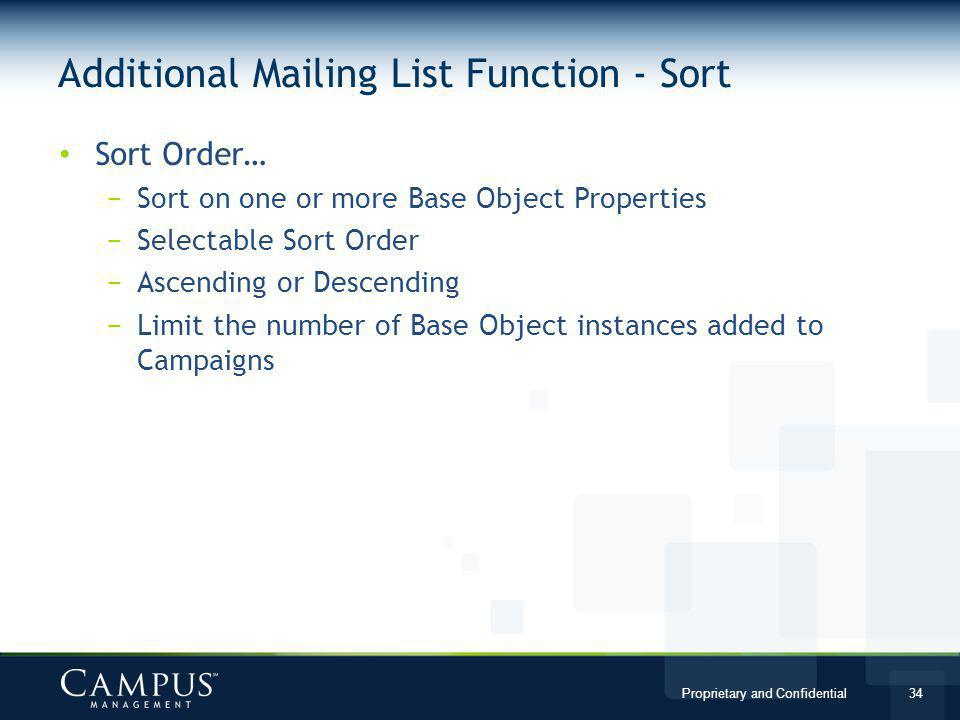 Additional Mailing List Function - Sort