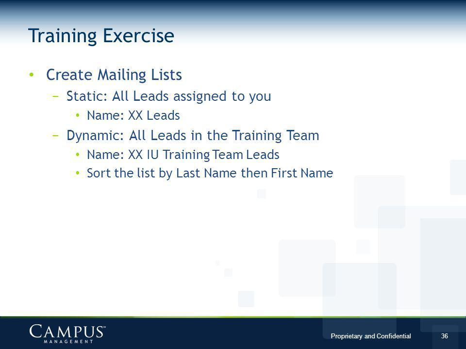 Training Exercise Create Mailing Lists