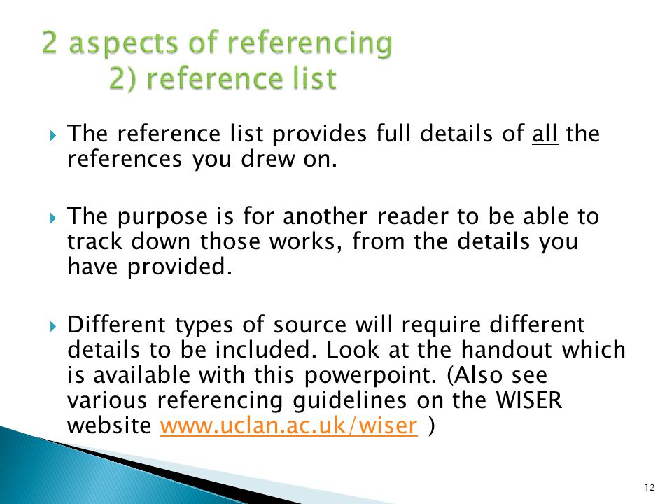 2 aspects of referencing 2) reference list