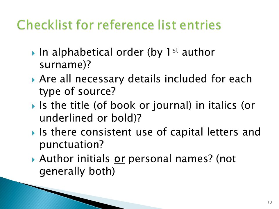 Checklist for reference list entries