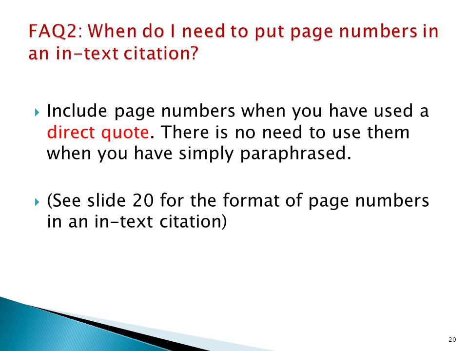 FAQ2: When do I need to put page numbers in an in-text citation