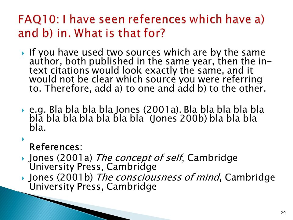 FAQ10: I have seen references which have a) and b) in. What is that for