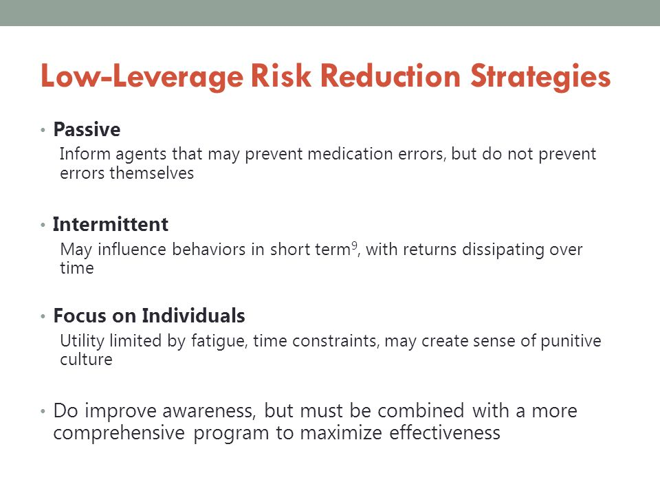 Low-Leverage Risk Reduction Strategies