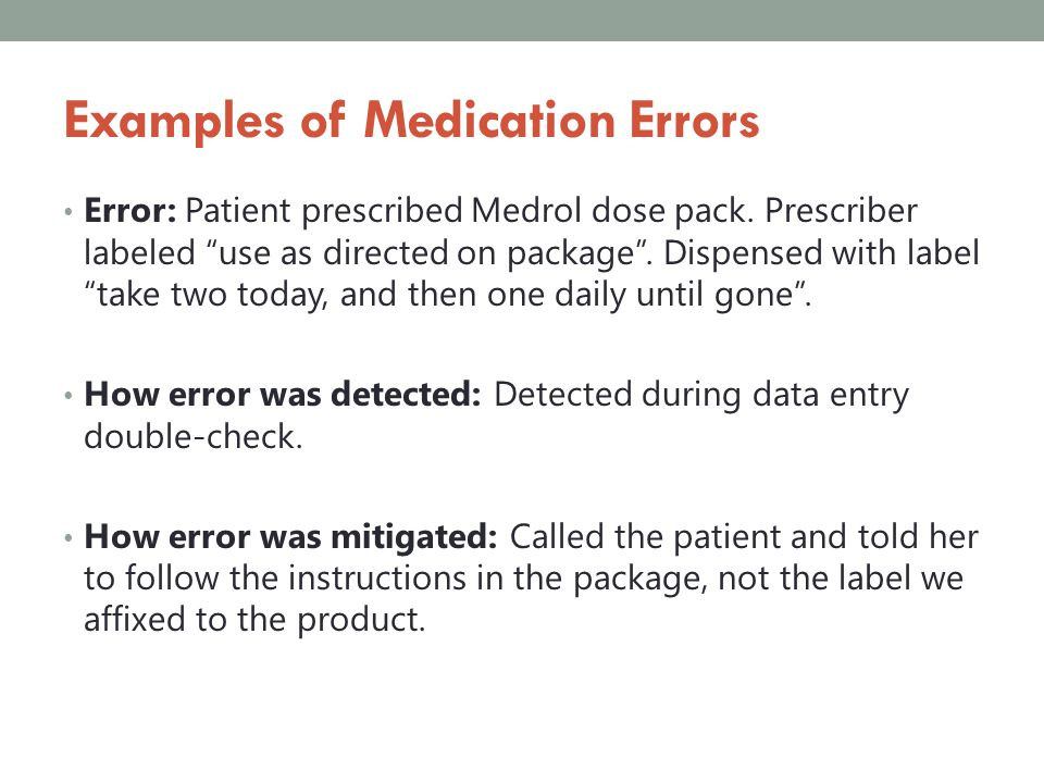 Examples of Medication Errors