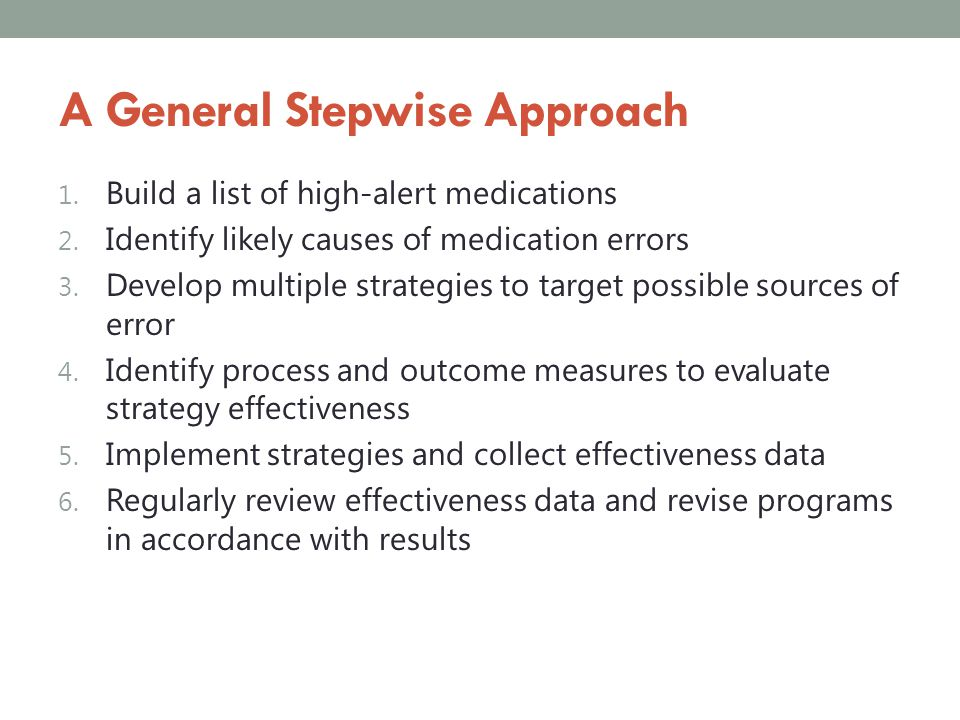 A General Stepwise Approach
