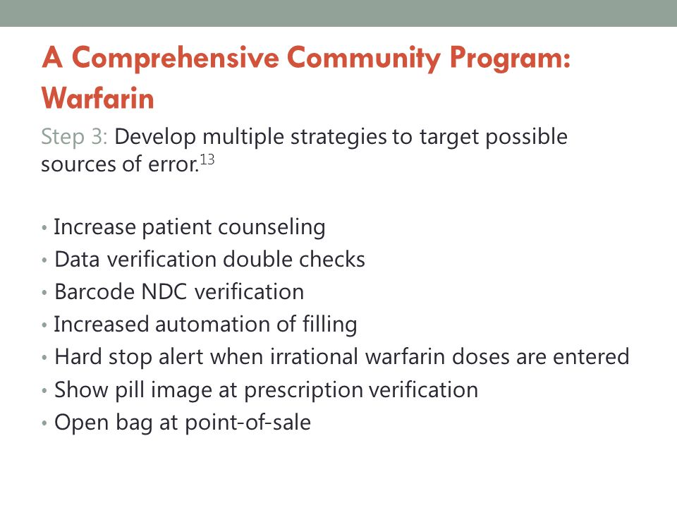 A Comprehensive Community Program: Warfarin