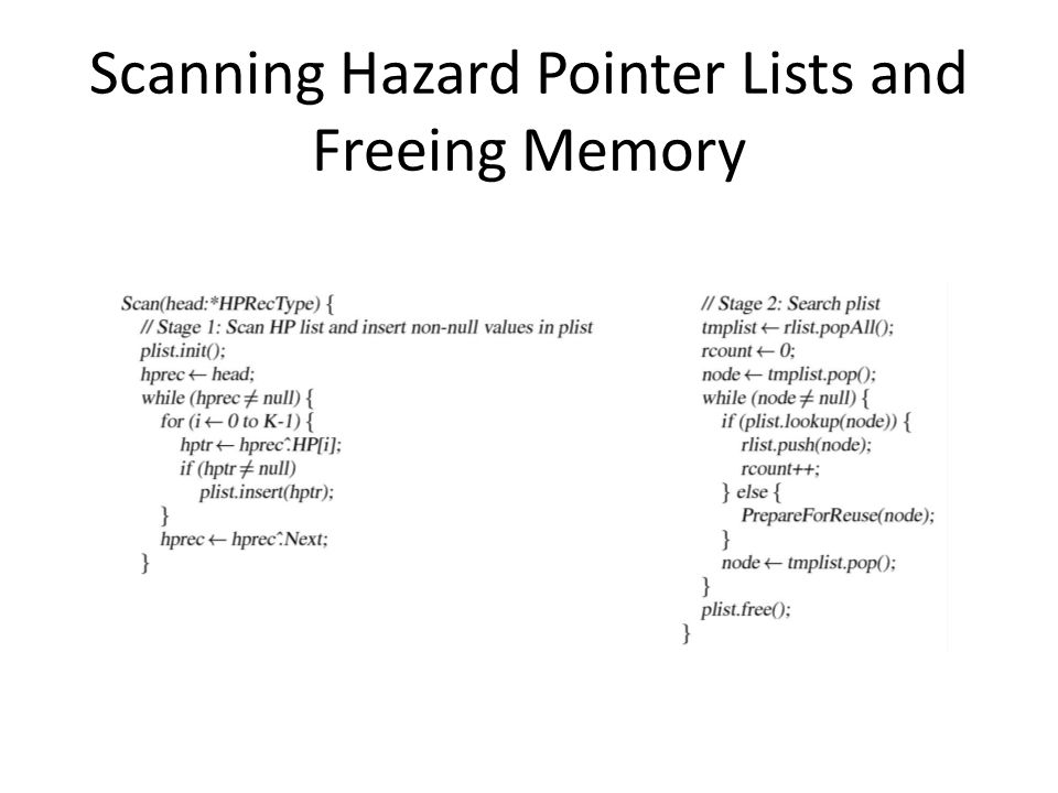 Scanning Hazard Pointer Lists and Freeing Memory